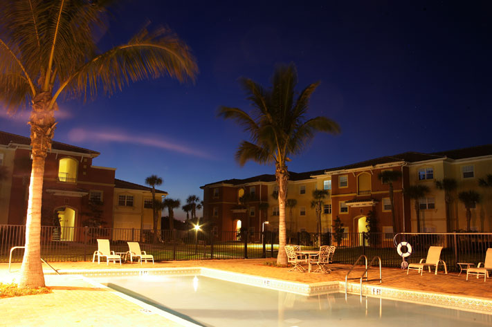 Photo Of Nighttime Pool At Satellite Beach, FL Apartments - Beachside Apartments