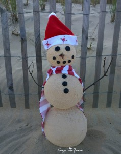 sand snowman on the beach - Beachside Apartments