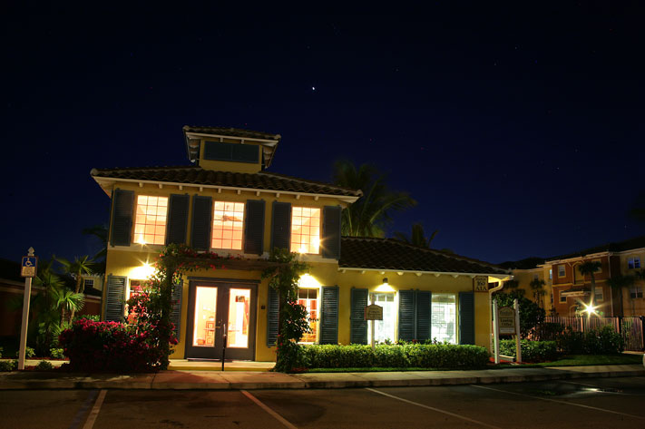 Beachside Apartments on south Merritt Island - our Clubhouse at night